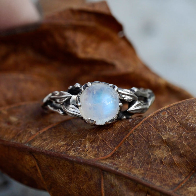 "Sterling Silver Rainbow Moonstone Ring ""Louise"" - blacktreelab"