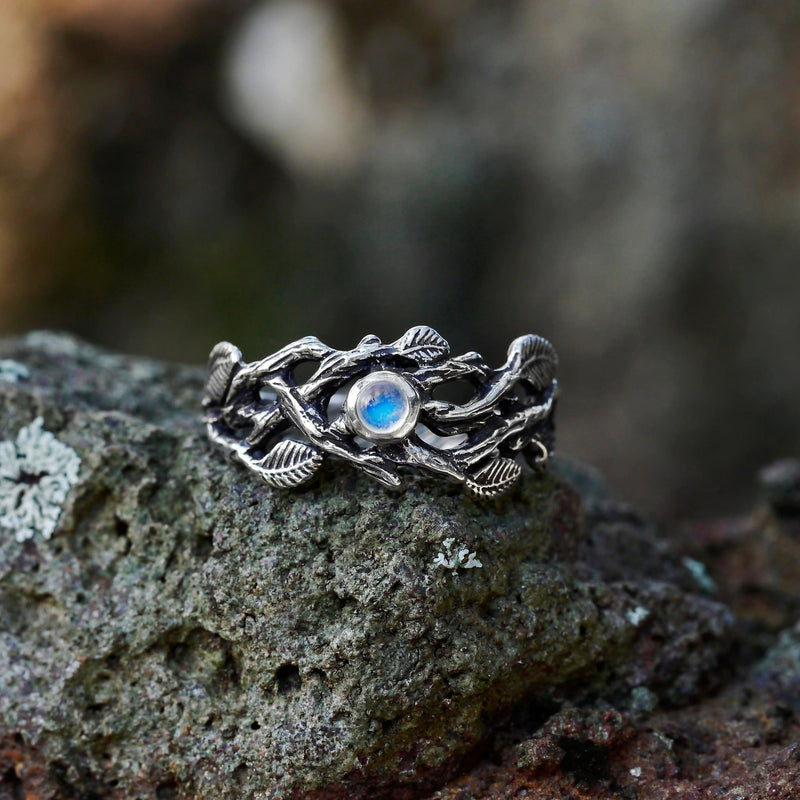 "Sterling Silver Rainbow Moonstone Ring ""Sienna"" - blacktreelab"