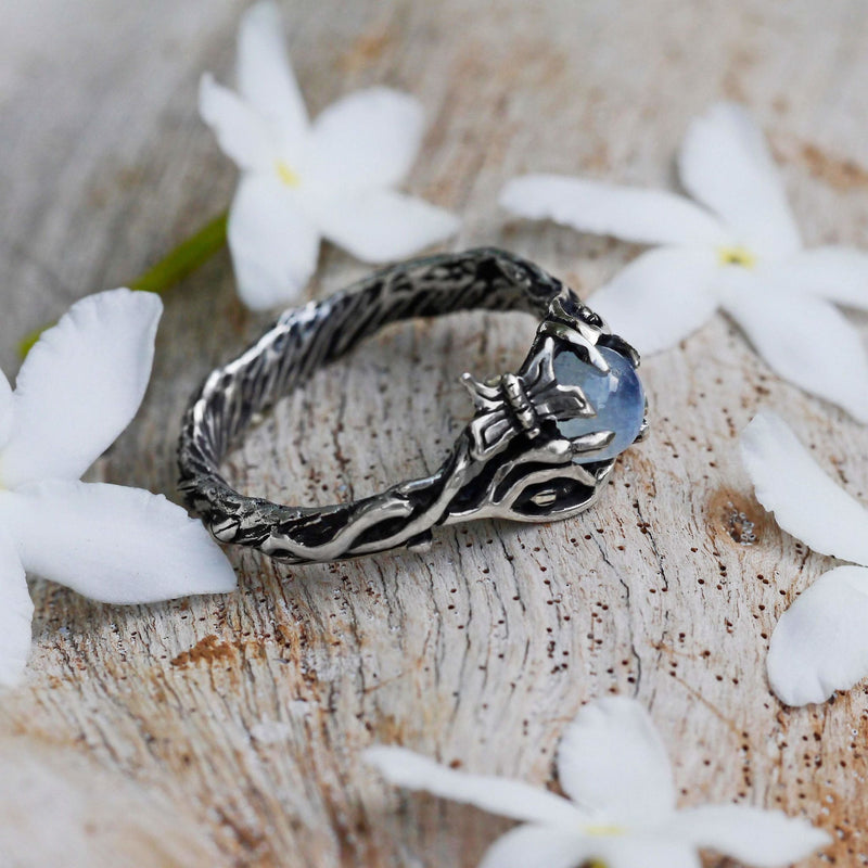 "Sterling Silver Rainbow Moonstone Ring ""Summer"" - blacktreelab"