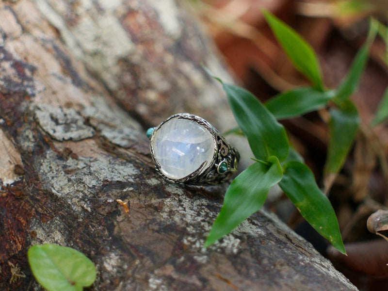 "Sterling Silver Rainbow Moonstone Ring with Aquamarines ""Aurora"" - blacktreelab"