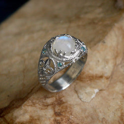 "Sterling Silver Rainbow Moonstone Ring with Blue Topaz ""Snow Queen"" - blacktreelab"