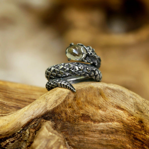 "Sterling Silver Ring with Smoky Topaz ""Cosmosnake"" - blacktreelab"