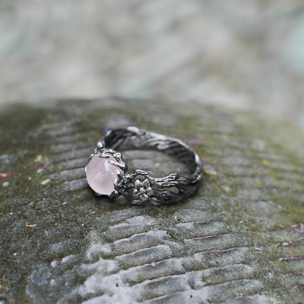 "Sterling Silver Rose Quartz Ring ""Fleur"" - blacktreelab"