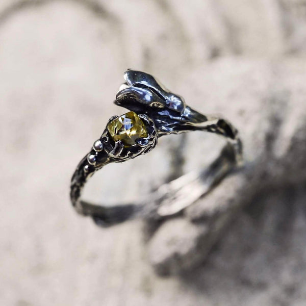 "Sterling Silver Rough Diamond Ring ""Eve"" - blacktreelab"