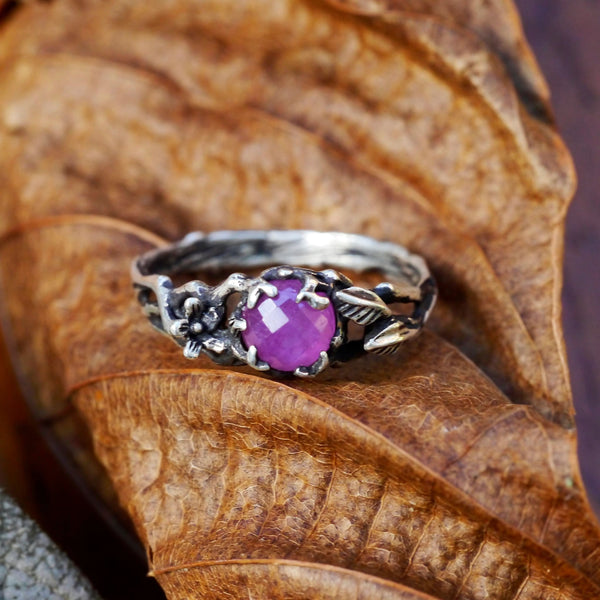 "Sterling Silver Ruby Ring ""Clair"" - blacktreelab"