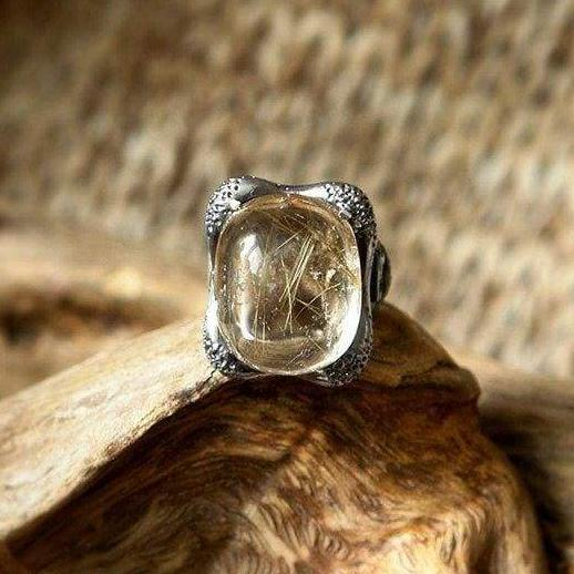 "Sterling Silver Rutilated Quartz Ring ""Eye of Horus"" - blacktreelab"