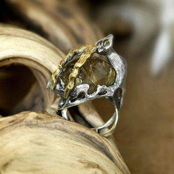 "Sterling Silver Rutilated Quartz Ring  ""Golden Antelope"" - blacktreelab"