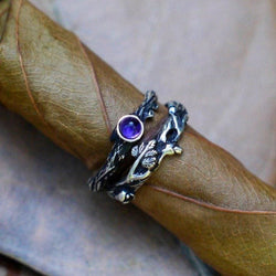 Sterling Silver Set of 2 Dew+Mio Rings with Amethyst - blacktreelab
