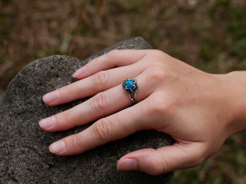 "Sterling Silver Turquoise Ring ""Cleo"" - blacktreelab"