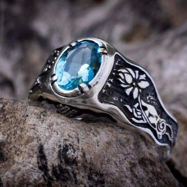 Swiss Blue Topaz ring «Mudra» with Buddha hand - blacktreelab