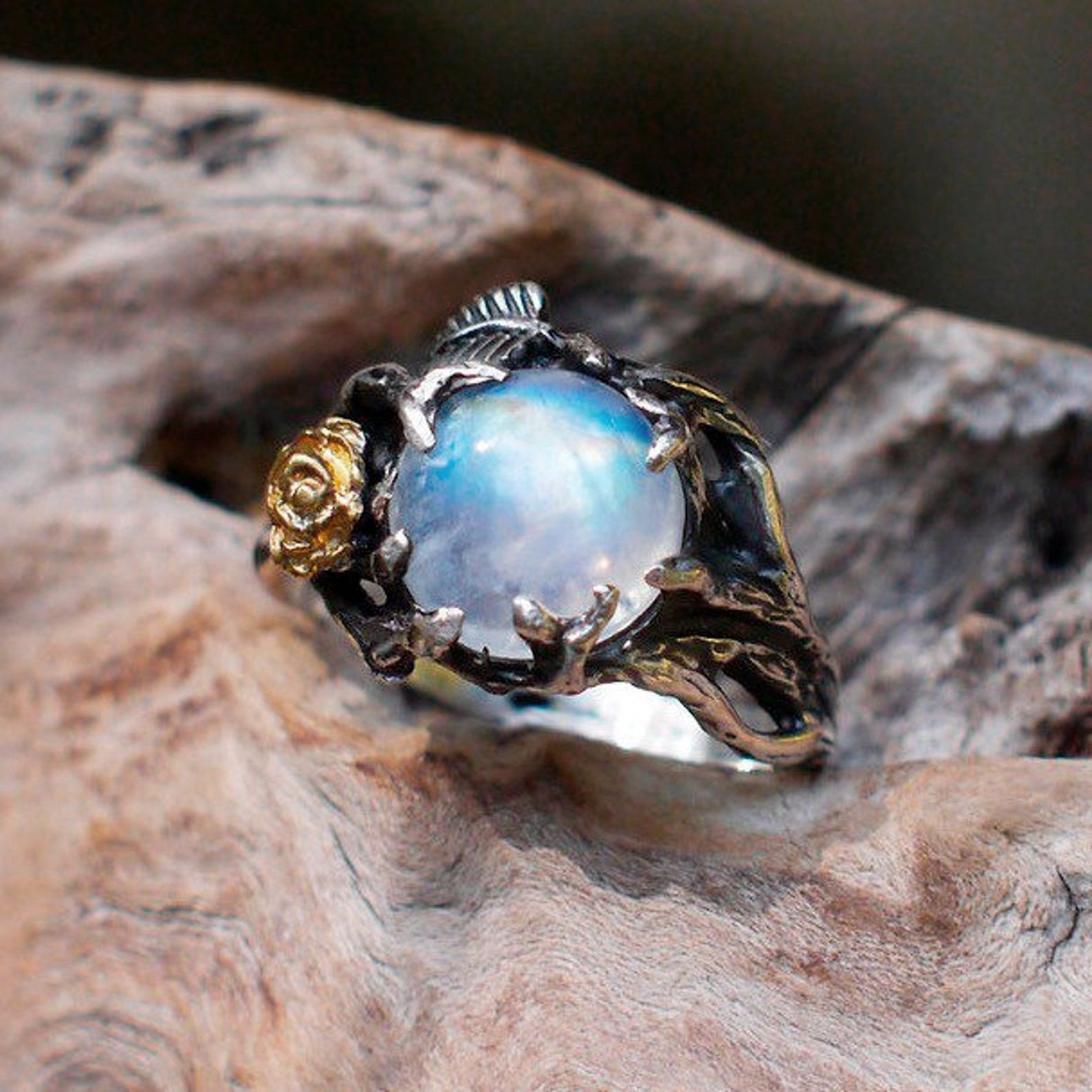 Sterling Silver Moonstone Engagement ring