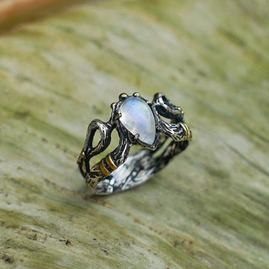 Silver Moonstone Engagement Ring