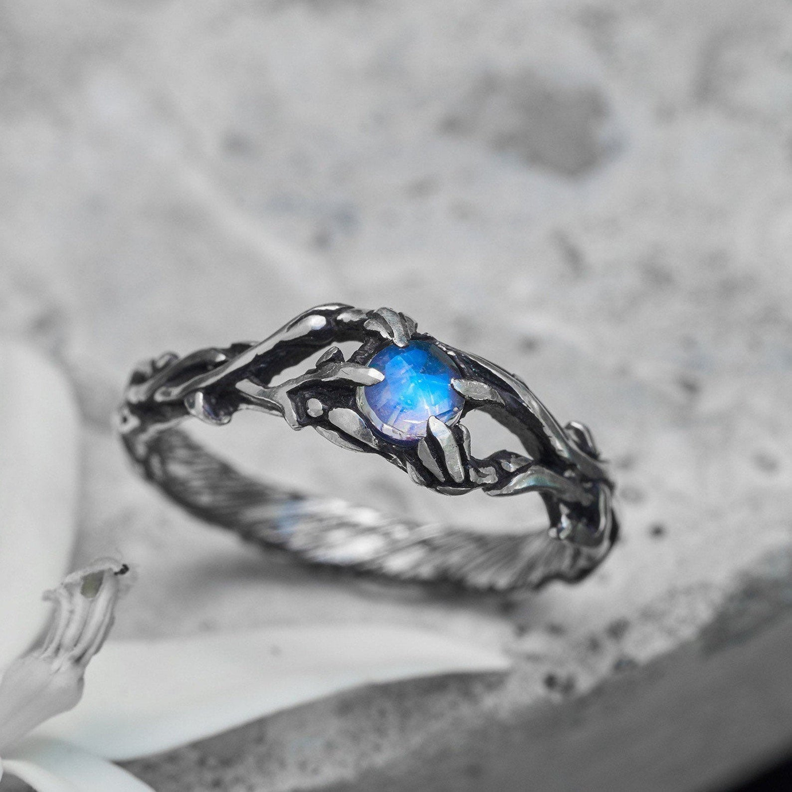 Floral Moonstone ring