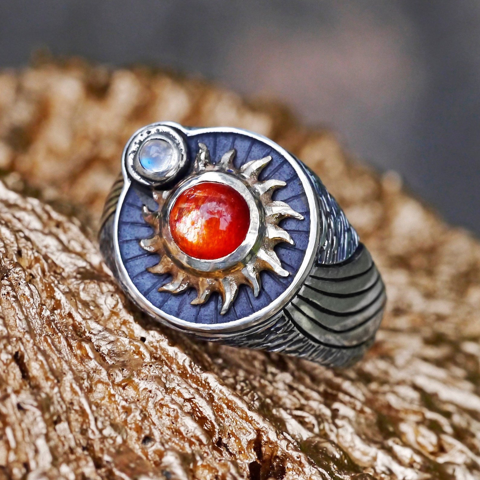 Sunstone and Moonstone ring