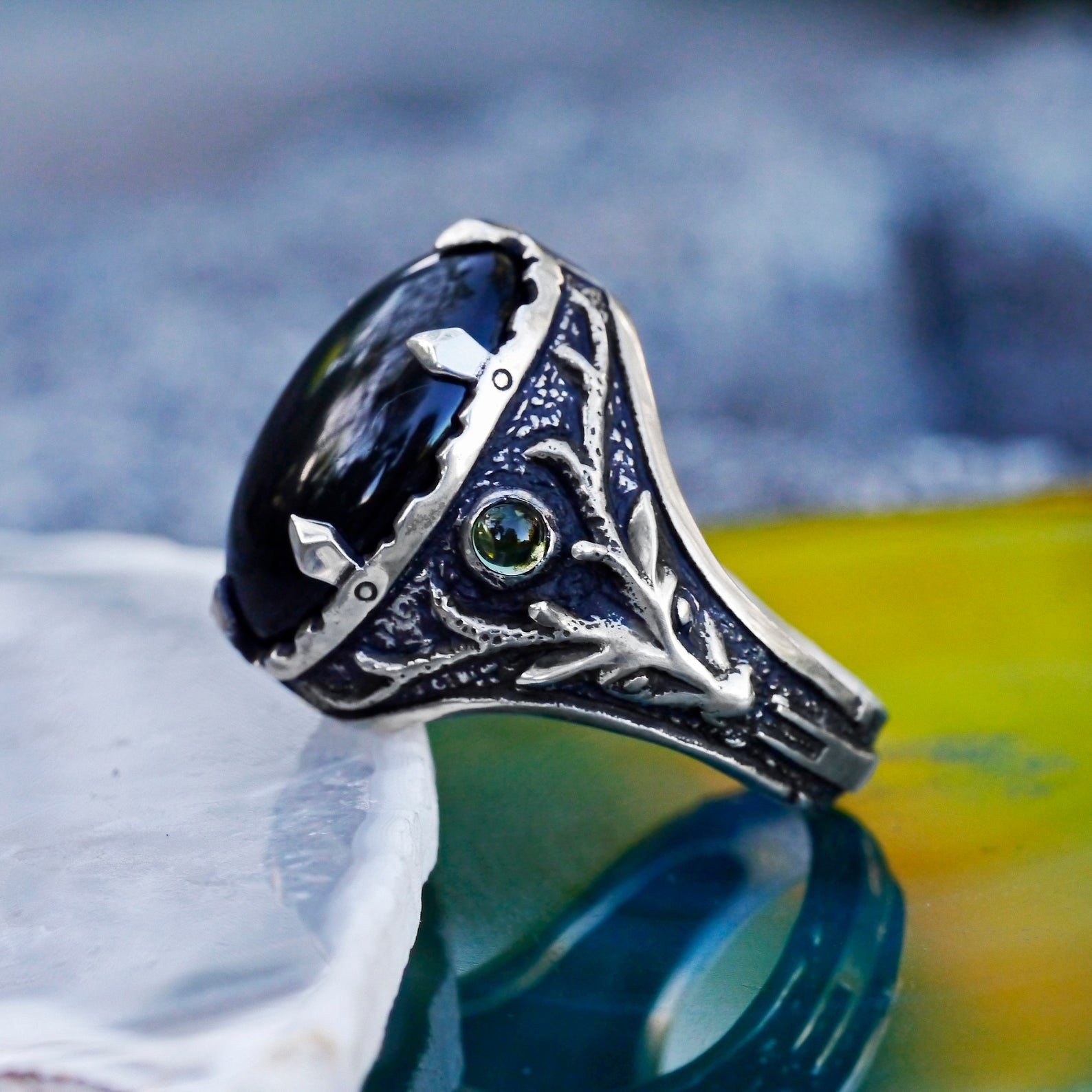 Silver Men's ring with Obsidian