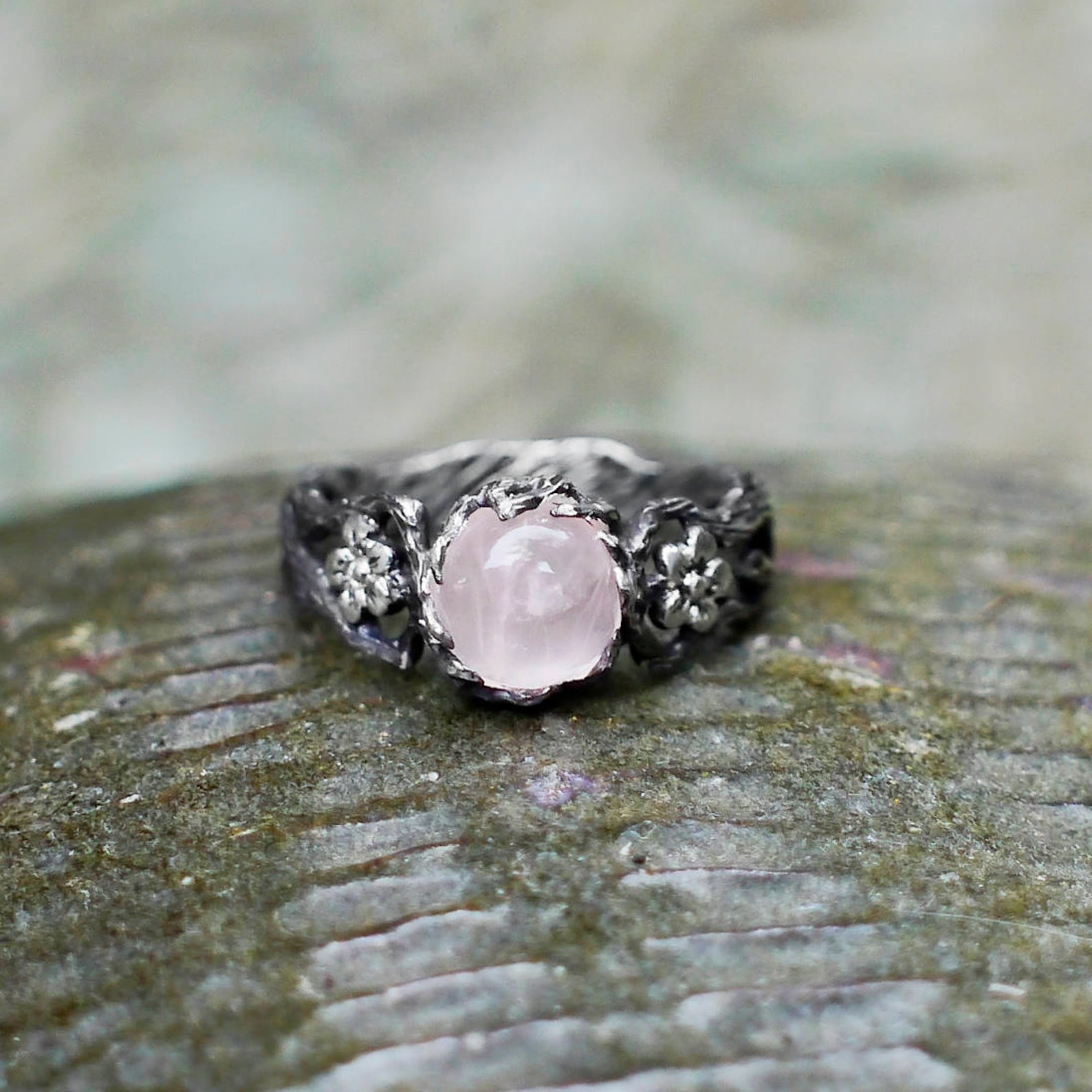 Sterling Silver Rose Quartz Engagement Ring