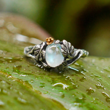 Moonstone Engagement ring in Sterling Silver