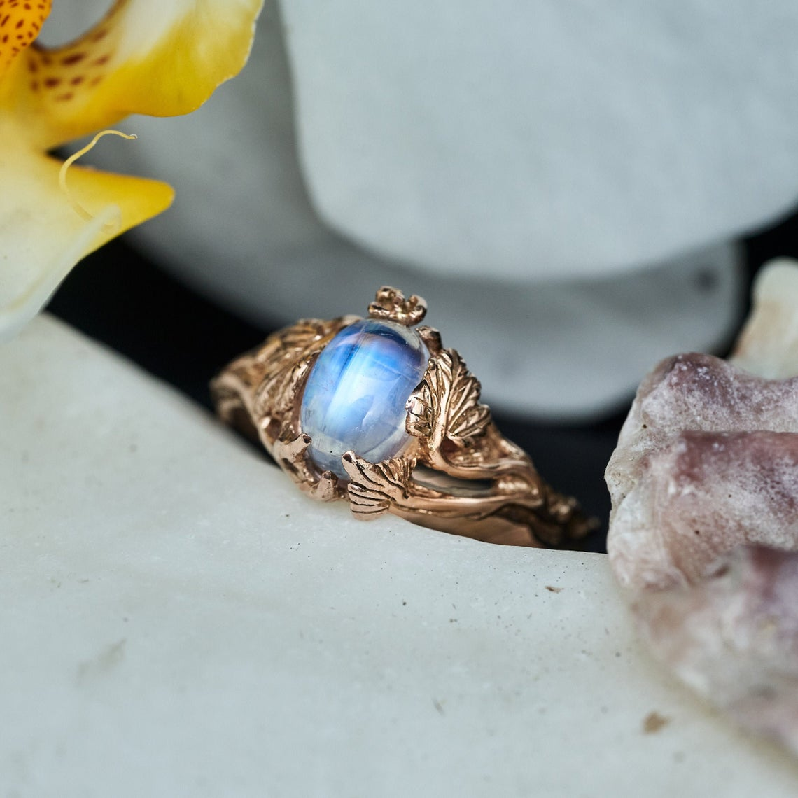 Moonstone in Gold Ring