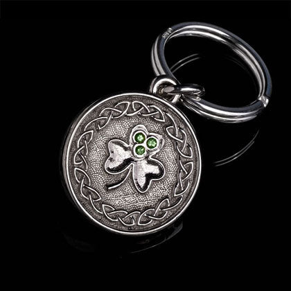 Celtic Clover Tsavorite Key Ring - Shano Designs
