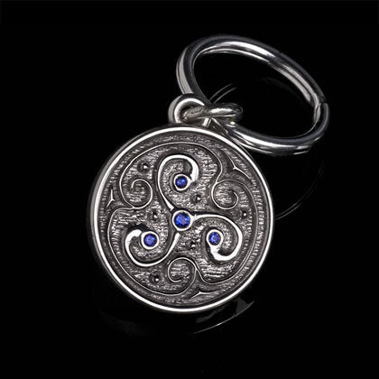 Celtic Swirl Blue Sapphire Key Ring - Shano Designs