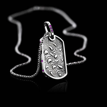 Paisley Pink Sapphire Dog Tag Necklace - Shano Designs