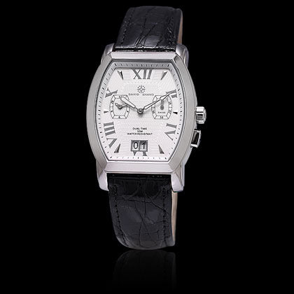 Dual Time White Face, Black Crocodile - Shano Designs