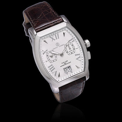 Dual Time White Face, Brown Crocodile - Shano Designs