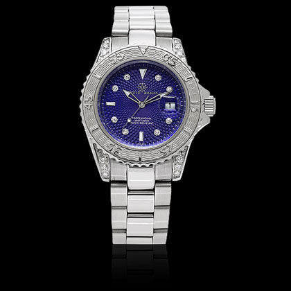 Marine Blue, Diamond Dial & Shoulders - Shano Designs
