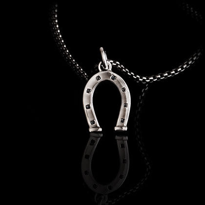 Horseshoe Black Diamond Pendant - Shano Designs