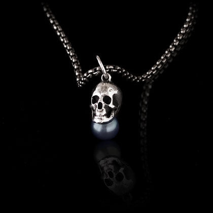 Skull with Black Tahitian Pearl Pendant - Shano Designs