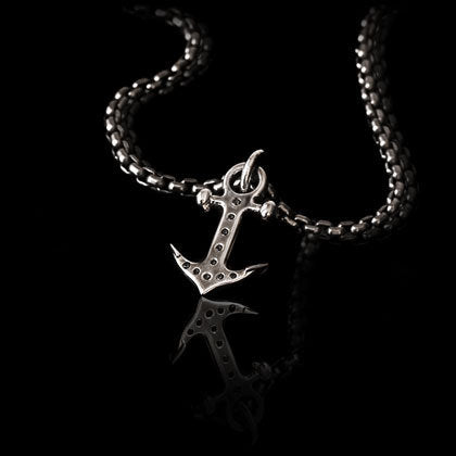 Black Diamond Anchor Pendant - Shano Designs