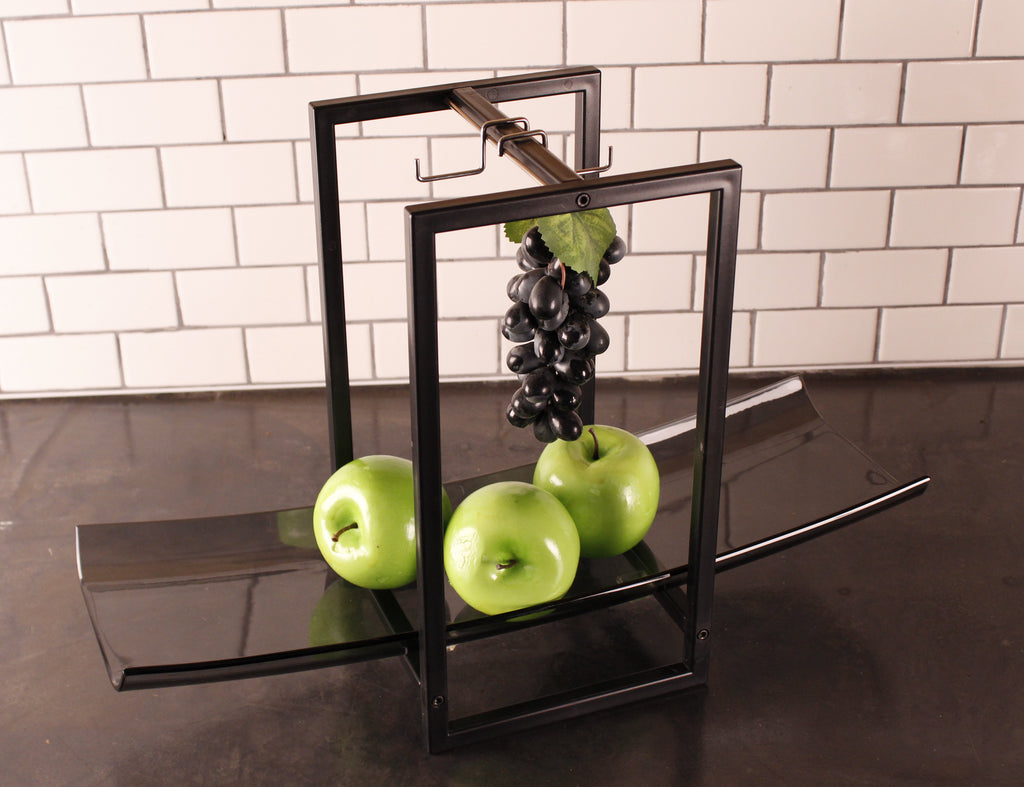 Zojila.com : Andora Fruit Holder, Elegant Detachable Glass Fruit Tray, Rectangular Frame Hanging Hooks : Kitchen and Dining