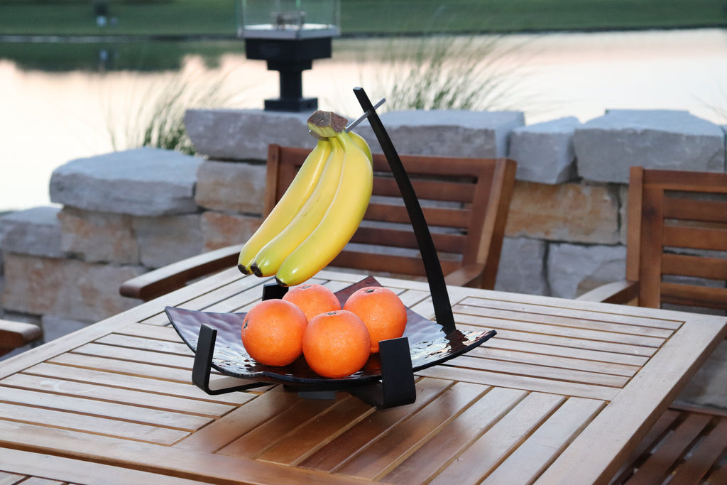 Zojila.com : Pomona Fruit Holder : Fruit holder with Banana Hanger, Art glass with Aluminum arms - Amber 12 inch square : Kitchen & Dining