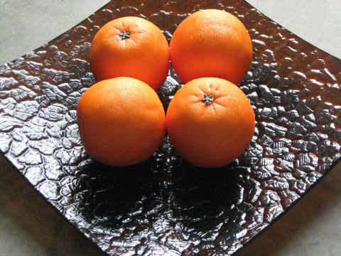 Zojila.com : Pomona Fruit Bowl : Square non-slip art glass Fruit Platter with Textured surface - Amber 12 inch square : Serving Dish