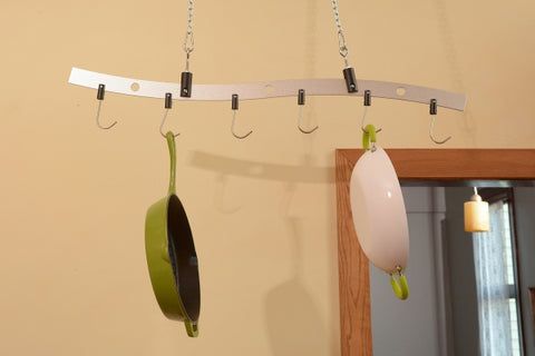 Zojila.com : Beni Pot Hanger, Solid Metal Pot Hanger with 6 Steel Hooks, Aluminum Anodized Silver Finish : Home Improvement
