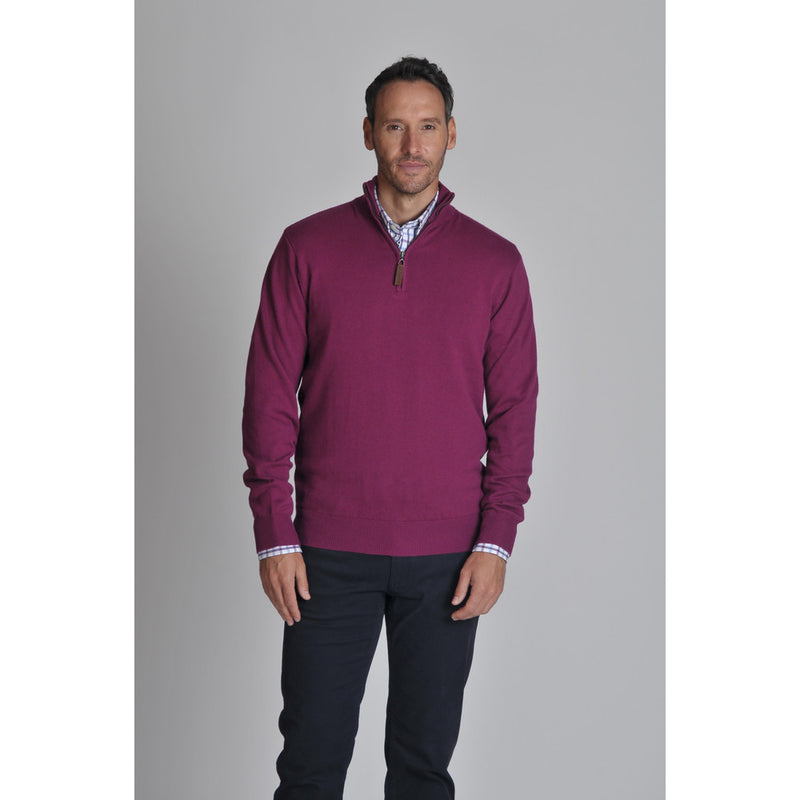 Cotton Cashmere 1/4 Zip Jumper Plum