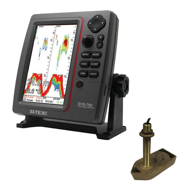 SI-TEX SVS-760 Dual Frequency Sounder 600W Kit w/Bronze Thru-Hull Temp Transducer - 307/50/200T-CX [SVS-760TH1]