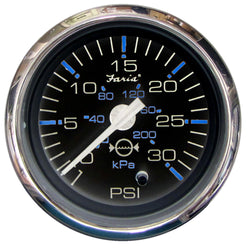 "Faria Chesapeake Black SS 2"" Water Pressure Gauge - 30 PSI [13712]"