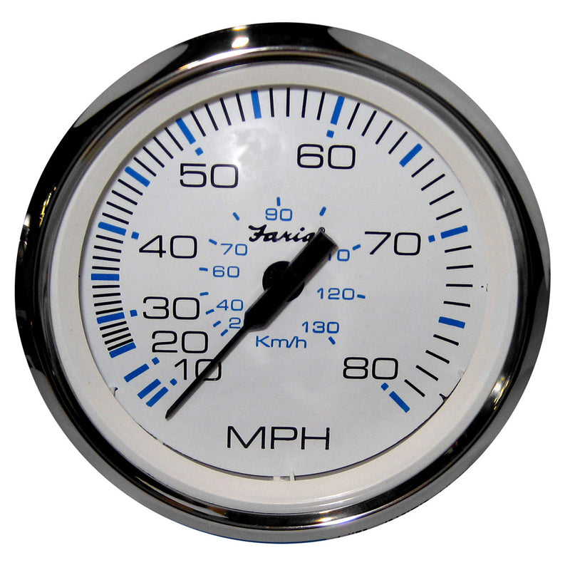 "Faria Chesapeake White SS 4"" Speedometer - 80MPH (Mechanical) [33819]"
