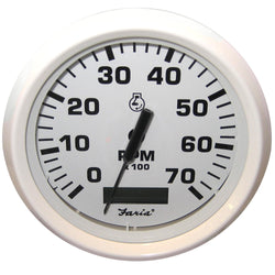 "Faria Dress White 4"" Tachometer w/Hourmeter - 7,000 RPM (Gas - Outboard) [33140]"