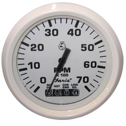"Faria Dress White 4"" Tachometer w/Systemcheck Indicator - 7,000 RPM (Gas - Johnson / Evinrude Outboard) [33150]"