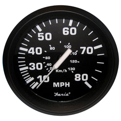 "Faria Euro Black 4"" Speedometer - 80MPH (Mechanical) [32812]"