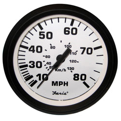 "Faria Euro White 4"" Speedometer - 80MPH (Mechanical) [32910]"