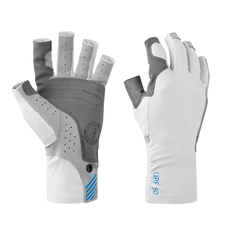 Mustang Traction UV Open Finger Fishing Glove - Light Gray/Blue - Large [MA6007-L-271]