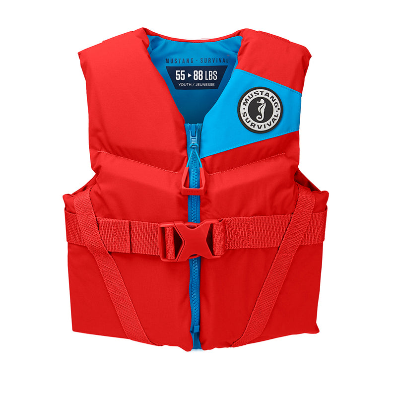 Mustang Rev Youth Foam Vest - 55-88lbs - Imperial Red [MV3570-277]