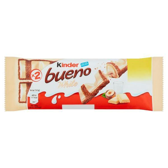 Kinder Bueno White Chocolate Milk and Hazelnuts Single Bars 2 x 19.5g (39g)