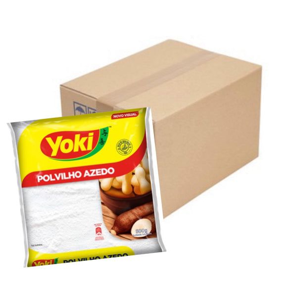 BOX of POLVILHO AZEDO | SOUR STARCH | ALMIDON AGRIO - 12 x 500G YOKI - O Mercadin