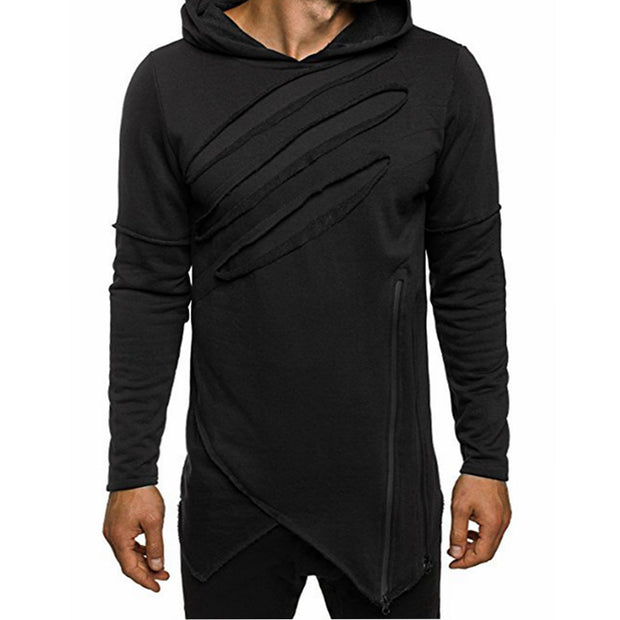 ASYM CLAW V - Black Techwear Hoodie With Zipper - Ninjadark