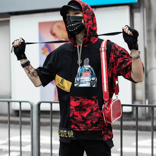 Hooded Camo Street Wear Shirt
