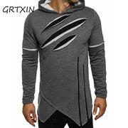 Men's Long Black Streetwear Hoodie Sweatshirt w/zippers